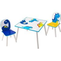 Amigo tafel en stoelen Dinosaurus 63 x 63 x45 cm wit