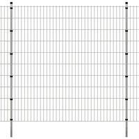 vidaXL Dubbelstaafmatten en palen 2008x2030 mm 26 m zilverkleurig