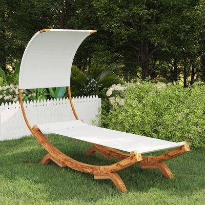 vidaXL Hangmat met luifel 100x216x162 cm massief vurenhout crèmekleur