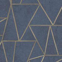 DUTCH WALLCOVERINGS Behang driehoeken petrolblauw en goud