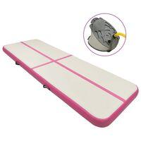 vidaXL Gymnastiekmat met pomp opblaasbaar 400x100x15 cm PVC roze