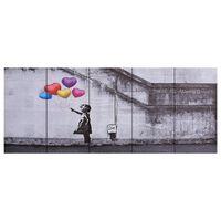 vidaXL Wandprintset ballonnen en kind 200x80 cm canvas meerkleurig