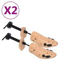 vidaXL Schoenspanners 2 paar maat 41-46 massief grenenhout