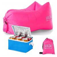 SeatZac lucht zitzak roze inclusief koeltas - 130 x 53 x 70 cm -