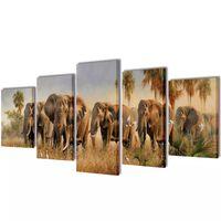 Canvasdoeken Olifanten 100 x 50 cm