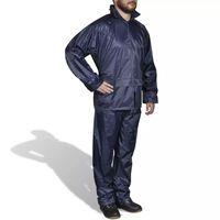 Regenpak 2-delig met capuchon (heren / marineblauw / maat L)