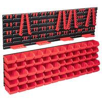 vidaXL 136-delige Opslagbakkenset met wandpanelen rood en zwart