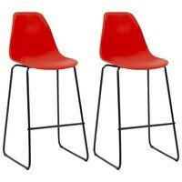 vidaXL Barstoelen 2 st kunststof rood