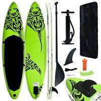 vidaXL Stand Up Paddleboardset opblaasbaar 366x76x15 cm groen