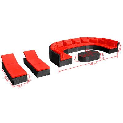 vidaXL 13-delige Loungeset met kussens poly rattan rood