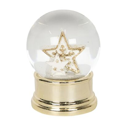 Sneeuwbol | Ø 4*6 cm | Goudkleurig | Polyresin / glas | rond | sterren