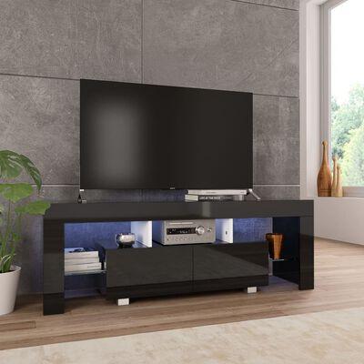 vidaXL Tv-meubel met LED-verlichting 130x35x45 cm hoogglans zwart