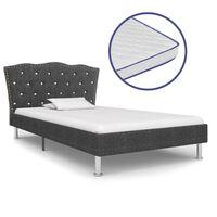 vidaXL Bed met traagschuim matras stof donkergrijs 90x200 cm