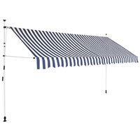 vidaXL Luifel handmatig uittrekbaar 350 cm blauw en witte strepen