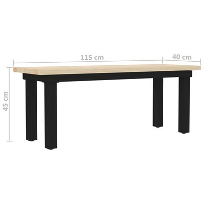 vidaXL Bank 115x40x45 cm grenenhout