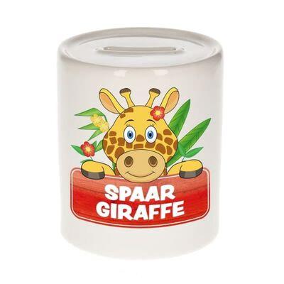 Kinder spaarpot met spaar giraffe opdruk - keramiek - giraffes