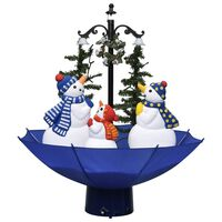 vidaXL Kerstboom sneeuwend met paraplubasis 75 cm PVC blauw