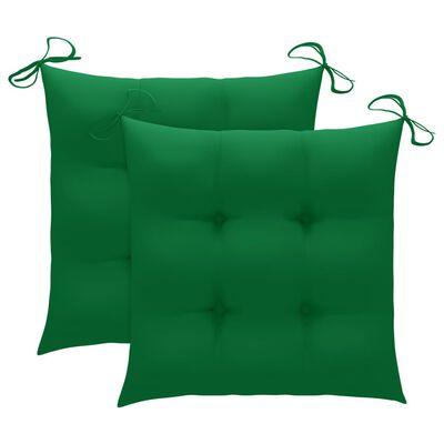 vidaXL 3-delige Bistroset met groene kussens massief teakhout
