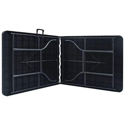 vidaXL Tuintafel inklapbaar 180x75x72 cm HDPE en kunstrattan zwart
