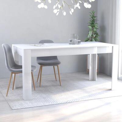 vidaXL Eettafel 160x80x76 cm spaanplaat hoogglans wit