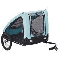 vidaXL Huisdierenfietskar blauw en zwart