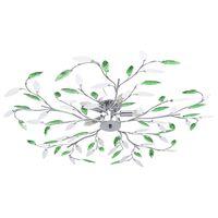 vidaXL Plafondlamp met acryl kristallen bladarmen voor 5xE14 groen