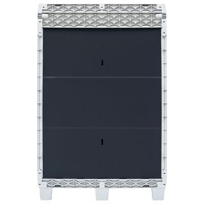 vidaXL Tuinafvalbak met 3 zakken 65x38x102 cm lichtgrijs