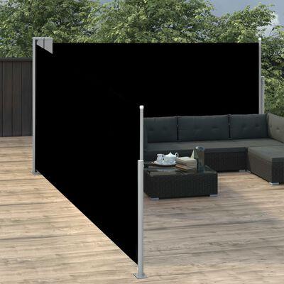 vidaXL Windscherm uittrekbaar 170x1000 cm zwart