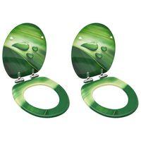 vidaXL Toiletbrillen met soft-close deksel 2 st waterdruppel MDF groen