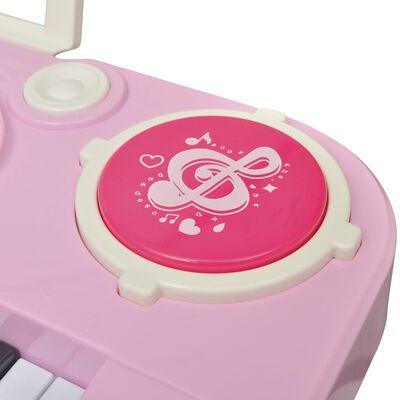 vidaXL Speelgoedkeyboard met krukje/microfoon en 37 toetsen roze