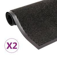 vidaXL Droogloopmatten 2 st rechthoekig getuft 120x180 cm zwart