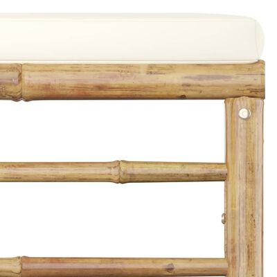 vidaXL 5-delige Loungeset met crèmewitte kussens bamboe