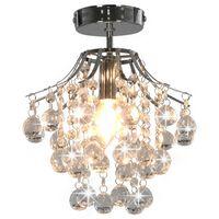 vidaXL Plafondlamp met kristallen kralen rond E14 zilverkleurig