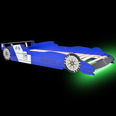 vidaXL Kinderbed raceauto met LED-verlichting blauw 90x200 cm