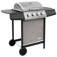 vidaXL Gasbarbecue met 6 branders zwart en zilverkleurig