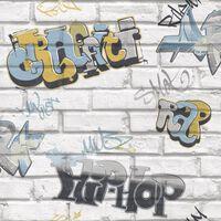 Urban Friends & Coffee Behang graffiti grijs en blauw
