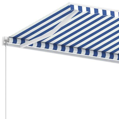 vidaXL Luifel vrijstaand handmatig uittrekbaar 400x350 cm blauw en wit