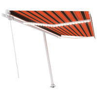 vidaXL Luifel handmatig uittrekbaar met LED 400x300 cm oranje en bruin