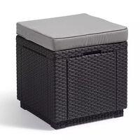 Allibert Cube multifunctionele hocker grafiet 213785
