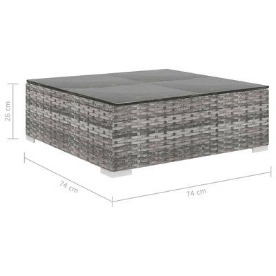 vidaXL 9-delige Loungeset met kussens poly rattan grijs