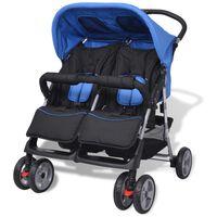 vidaXL Tweelingkinderwagen staal blauw en zwart