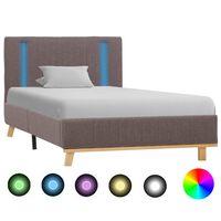 vidaXL Bedframe met LED stof taupe 90x200 cm