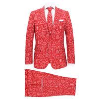 vidaXL Tweedelig kerstpak met stropdas mannen maat 48 kerstrood