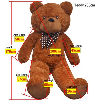 vidaXL Teddybeer 170 cm pluche bruin
