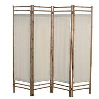 vidaXL Kamerscherm 4-panelen inklapbaar 160 cm bamboe en canvas