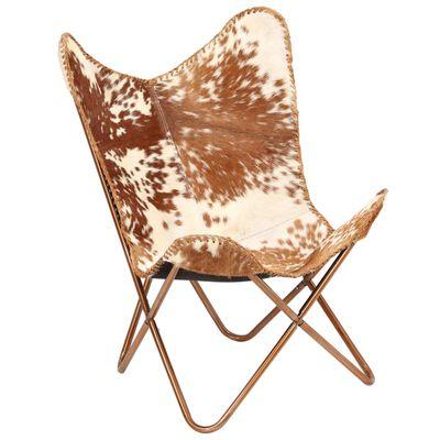 vidaXL Vlinderstoel echt geitenleer bruin en wit