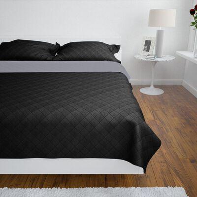 vidaXL Bedsprei gewatteerd dubbelzijdig 220x240 cm zwart/grijs