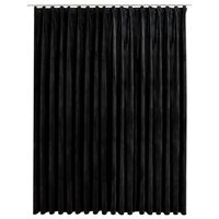 vidaXL Gordijn verduisterend met haken 290x245 cm fluweel zwart