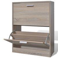 vidaXL Schoenenkast met 2 vakken eiken-look hout