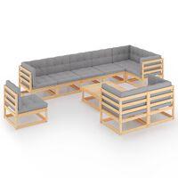 vidaXL 10-delige Loungeset met kussens massief grenenhout